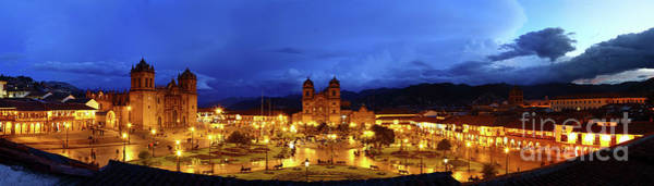 Photograph - Panoramic View Of Plaza De Armas At Twilight Cusco Peru by James Brunker