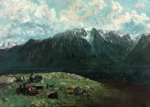 Wall Art - Painting - Panoramic View Of The Alps, 1877 by Gustave Courbet