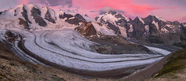 Wall Art - Photograph - Panoramic View Of The Bernina Group At Dawn Piz Palue Bellavista Crast Aguezza Piz Bernina Piz by imageBROKER - Bernd Zoller