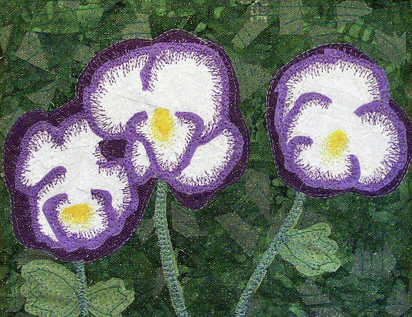 Tapestry - Textile - Pansies by Pam Geisel