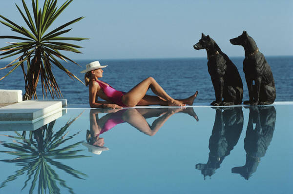 Hat Photograph - Pantz Pool by Slim Aarons