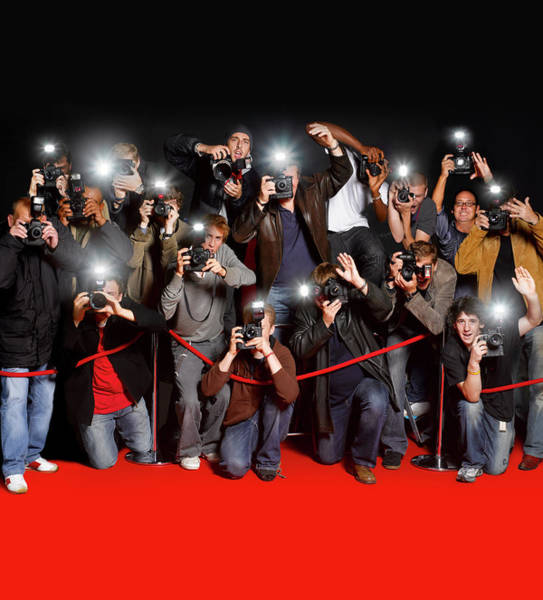 Multi Media Photograph - Paparazzi Behind Cordon At Premiere by Peter Dazeley