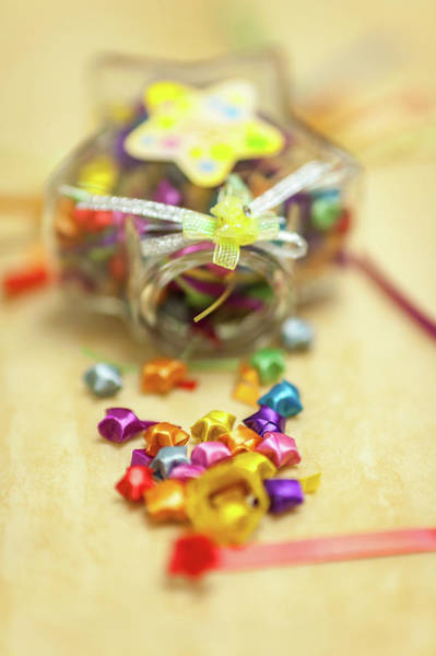 Jar Photograph - Paper Lucky Stars, With Some Unfinished by Wilfred Y Wong