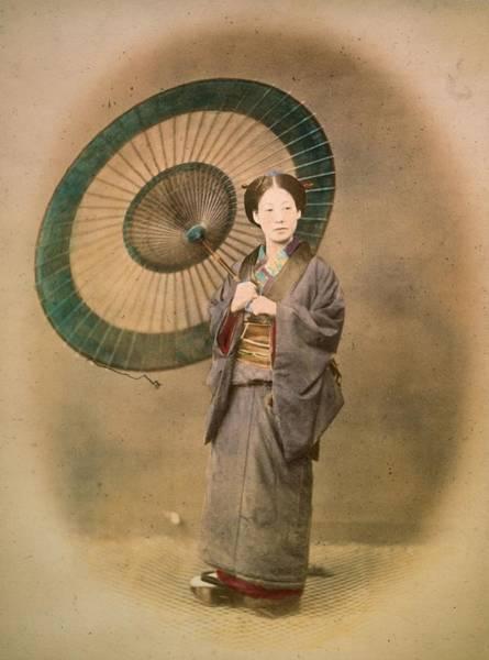 Archival Paper Photograph - Paper Parasol by Felice Beato