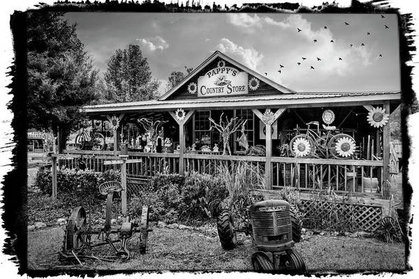 Photograph - Pappy's Country Store Black And White Bordered by Debra and Dave Vanderlaan