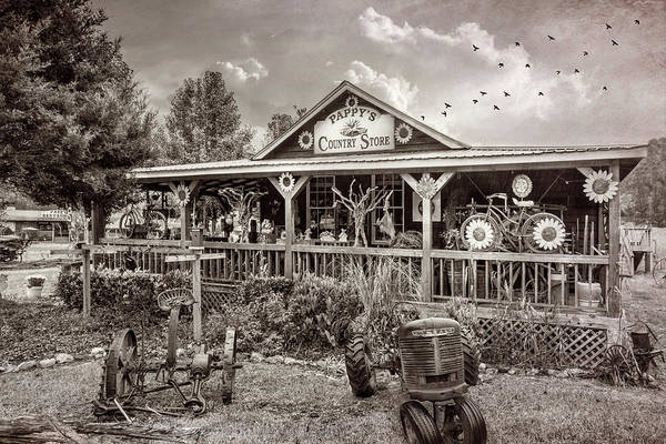 Photograph - Pappy's Country Store In Vintage Sepia Tones by Debra and Dave Vanderlaan