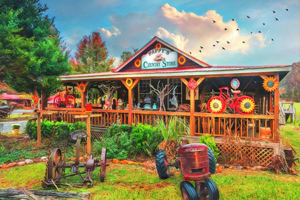 Wall Art - Photograph - Pappy's Country Store Watercolor Painting  by Debra and Dave Vanderlaan