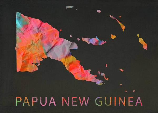 Png Wall Art - Mixed Media - Papua New Guinea Tie Dye Country Map by Design Turnpike