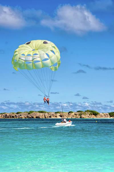 St Martin Photograph - Parachute Surfing At Orient Beach Saint Martin by David Smith