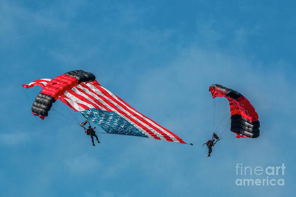 Photograph - Parachutes And U.s. Flag by Tom Claud