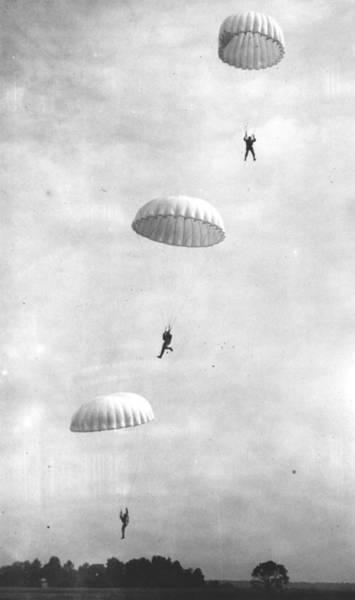 Usa Navy Photograph - Parachuting Marines by Keystone