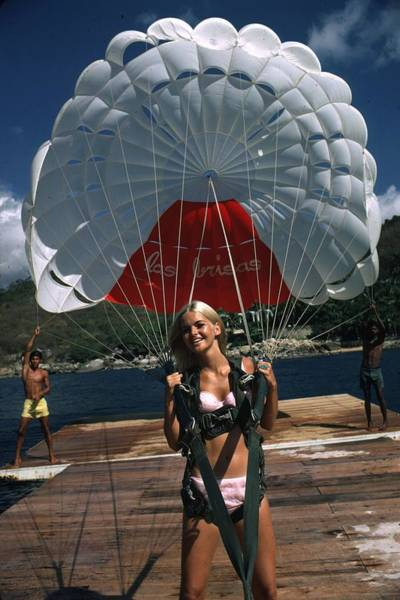 Coastline Photograph - Paraglider by Slim Aarons