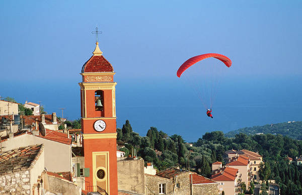 Process Photograph - Paraglider Soaring Past Tower Of by David Tomlinson