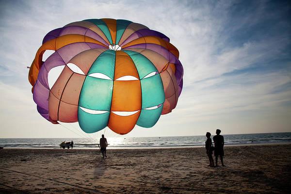 Goa Photograph - Paragliding At Benaulim Beach, Goa by Amit Basu Photography