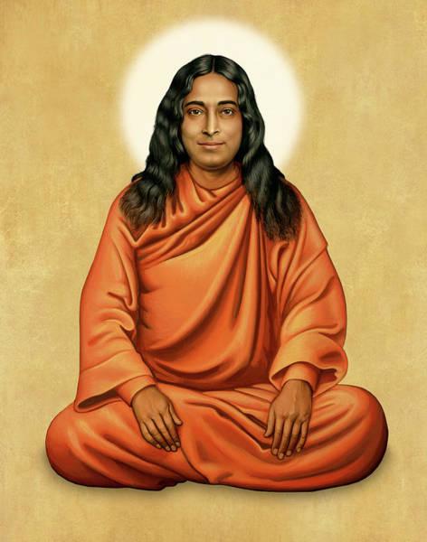 Paramhansa Yogananda On Gold Art Print