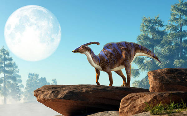 Digital Art - Parasaurolophus On A Rock Under The Moon by Daniel Eskridge