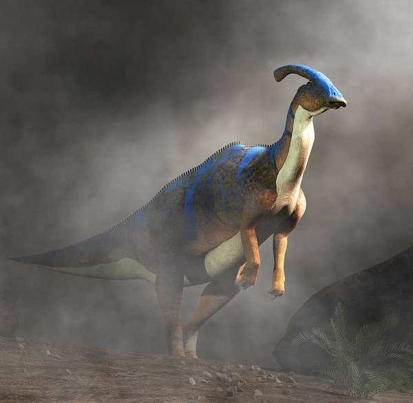 Digital Art - Parasaurolophus Standing In Fog by Daniel Eskridge