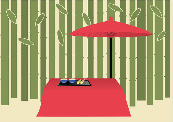 Parasol Digital Art - Parasol And Japanese Tea Set, Painting by Daj