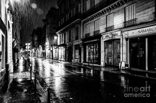 Photograph - Paris At Night - Rue Saints Peres by Miles Whittingham