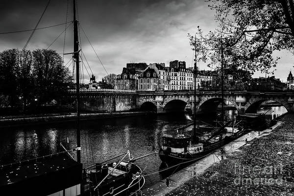 Photograph - Paris At Night - Seine River Towards Pont Neuf by Miles Whittingham