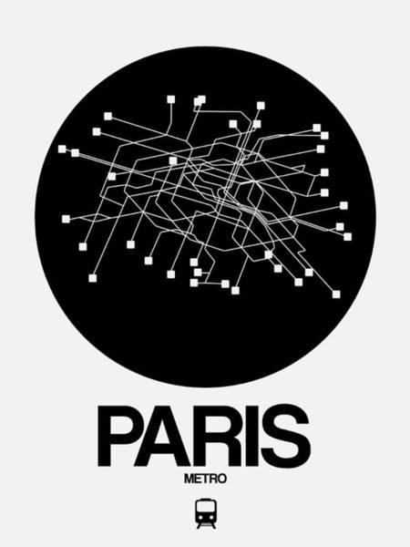 Wall Art - Digital Art - Paris Black Subway Map by Naxart Studio