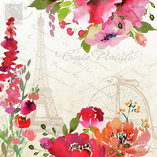 Jeans Mixed Media - Paris Blossoms B by Jean Plout