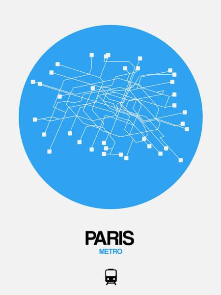 Unique Wall Art - Digital Art - Paris Blue Subway Map by Naxart Studio