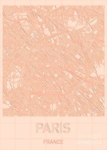 Digital Art - Paris Blueprint City Map by Helge