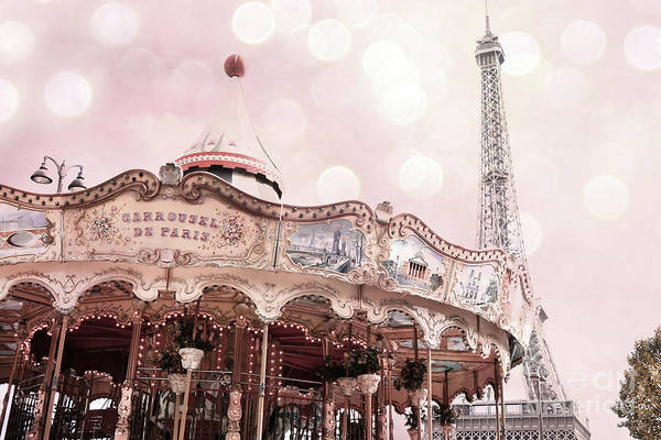 Wall Art - Photograph - Paris Blush Pink Eiffel Tower Carousel - Eiffel Tower Blush Pink Carousel Baby Girl Nursery Decor by Kathy Fornal