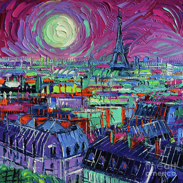 Wall Art - Painting - Paris By Moonlight by Mona Edulesco