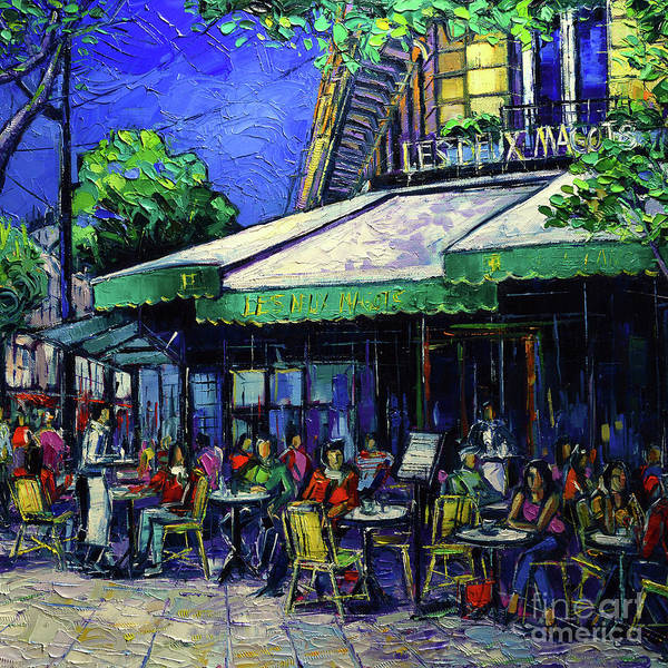 Wall Art - Painting - Paris Cafe Les Deux Magots by Mona Edulesco