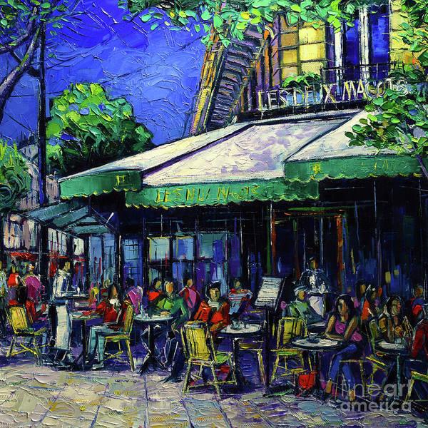 Parisian Cafe Painting - Paris Cafe Les Deux Magots by Mona Edulesco