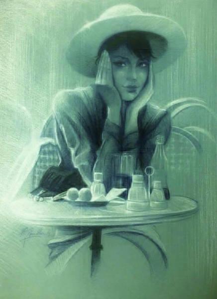 Sfumato Drawing - Paris Cafe by Richard Remblier