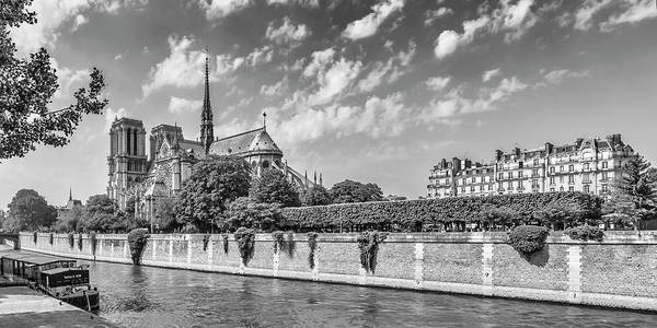 Wall Art - Photograph - Paris Cathedral Notre-dame -  Monochrome Panorama by Melanie Viola