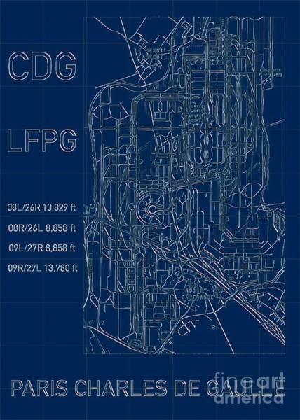 Digital Art - Paris Cdg Airport Blueprint by Helge