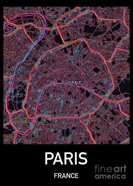 Digital Art - Paris City Map by Helge