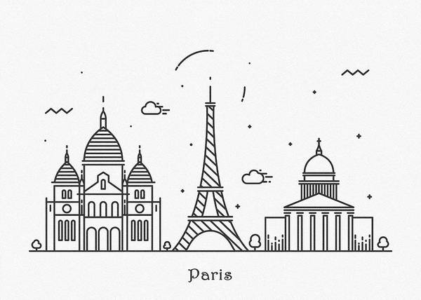 Wall Art - Drawing - Paris Cityscape Travel Poster by Inspirowl Design