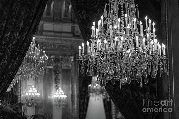 Wall Art - Photograph - Paris Crystal Chandelier Black White Sparkling Chandelier Opera Garnier - French Chandeliers by Kathy Fornal