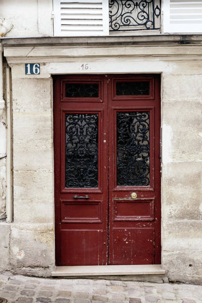 Wall Art - Photograph - Paris Door In Deep Red by Georgia Fowler