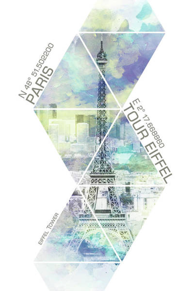 Wall Art - Mixed Media - Paris Eiffel Tower Coordinates - Jazzy Watercolor by Melanie Viola