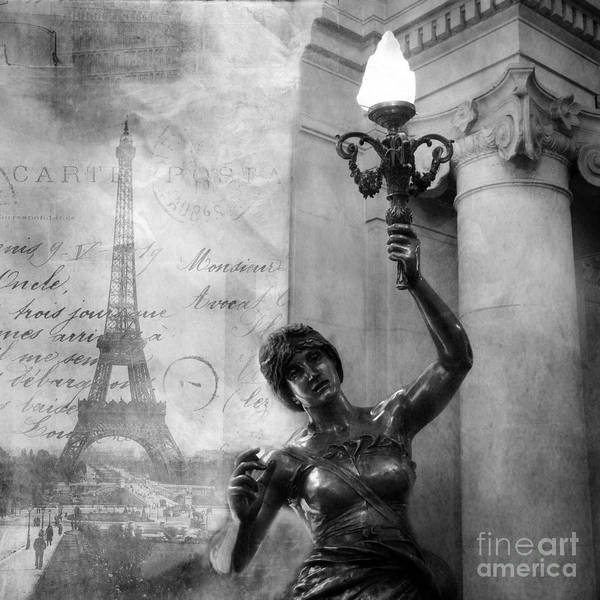 Wall Art - Photograph - Paris Eiffel Tower French Statue Holding Candelabra Lantern Black White Photography by Kathy Fornal