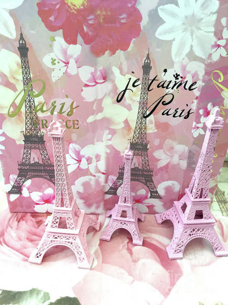 Wall Art - Digital Art - Paris Eiffel Tower Je Taime Prints - Eiffel Tower Statues Graphic Design - Parisian Home Decor by Kathy Fornal