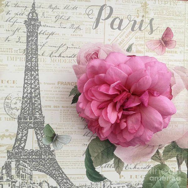 Wall Art - Digital Art - Paris Eiffel Tower Romantic Rose Floral French Script Shabby Chic Paris Decor by Kathy Fornal