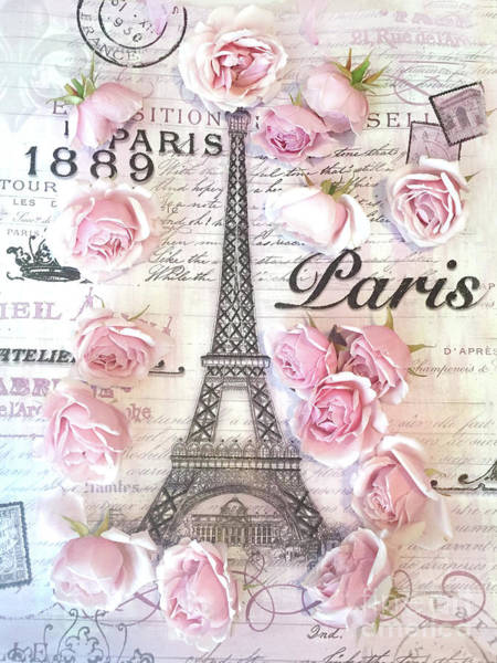 Wall Art - Photograph - Paris Eiffel Tower Shabby Chic Pink Roses French Script Parisian Prints Typography  by Kathy Fornal