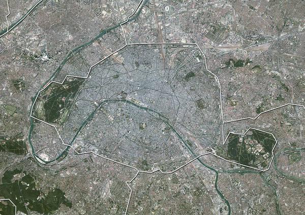 Aerial View Digital Art - Paris, France, Aerial View by Planet Observer/uig