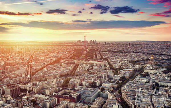 Wall Art - Photograph - Paris, France At Sunset, Aerial View. by Michal Bednarek