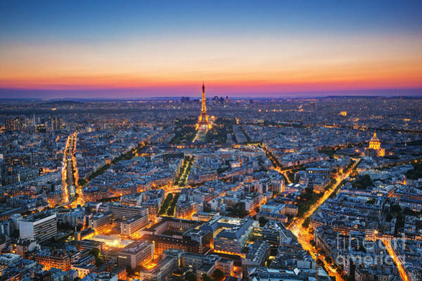 Wall Art - Photograph - Paris, France At Sunset. Aerial View On by Photocreo Michal Bednarek