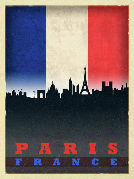 Wall Art - Mixed Media - Paris France City Skyline Flag by Design Turnpike
