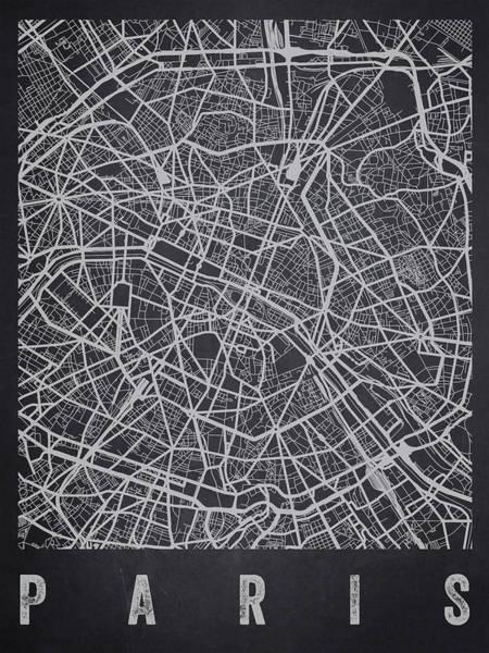 Wall Art - Digital Art - Paris France Street Map - Charcoal by Aged Pixel