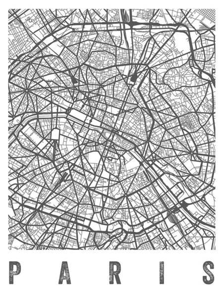 Wall Art - Digital Art - Paris France Street Map - White by Aged Pixel